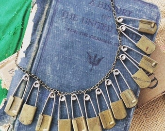 Vintage Safety Pin Statement Necklace - Repurposed Found Objects Necklace