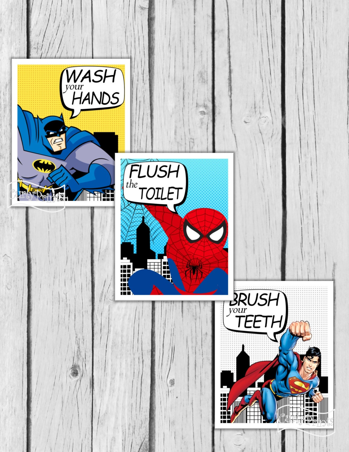 SUPERHERO BATHROOM Wall Art Batman Room Decor Superman Boys