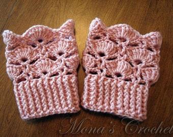Hand Crocheted Women's Pink Boot Cuffs | Crochet Boot Topper | Crochet Leg Warmers | Crochet Boot Socks