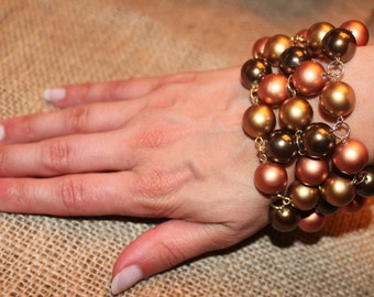 Vintage Copper Beaded Bracelet/ Multi-Strand Beaded Bracelet/Gold, Copper Bracelet