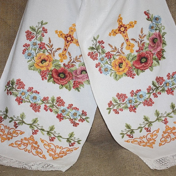 Wedding Towels Embroidered Towels. White Color. By YASENSVIT