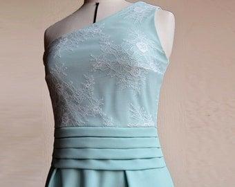 Robe cocktail demoiselle d honneur,robe cérémonie été, robe bustier en Dentelle Chantilly|bleu ciel|vert d'eau aqua|vert amande|turquoise