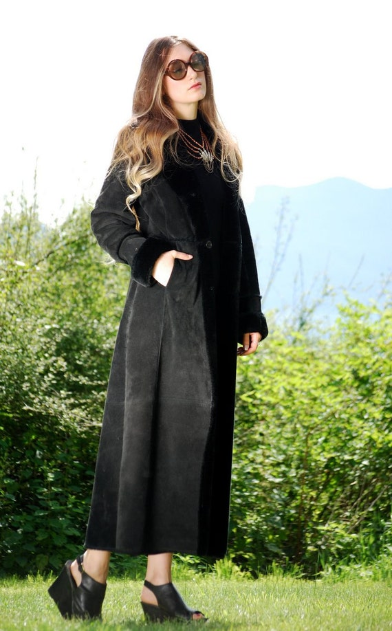 Long Suede Coat Boho Black Leather Trench Coat by SurfandtheCity