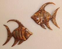 Copper Angel Fish Wall Art Sculpture