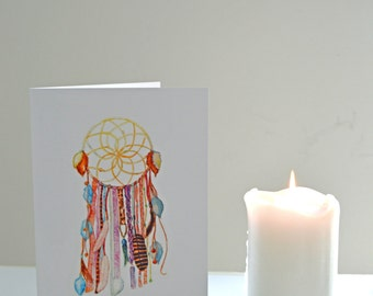 Dreamcatcher Greeting Card - featuring hand-drawn watercolour illustration