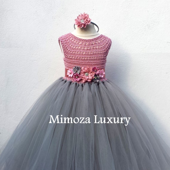 Dusty pink and Grey Flower girl dress, tutu dress, bridesmaid dress, princess dress, silk crochet top tulle dress, hand knit silk top tutu