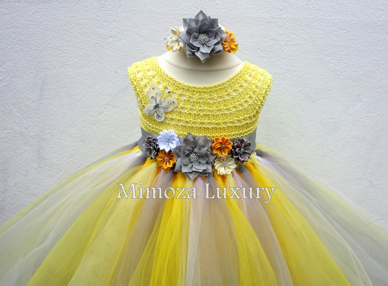 Yellow and Grey Flower girl dress tutu dress bridesmaid