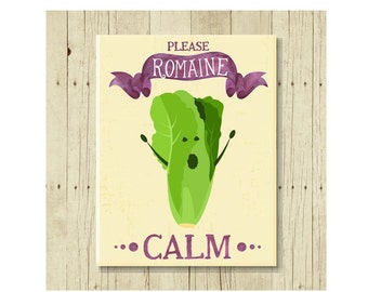 Funny Magnet, Romaine Calm, Food Pun, Gift for Chef, Romaine Lettuce, Lettuce Pun, Cute Fridge Magnet, Cute Magnets, Gifts Under 10