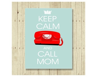 Keep Calm Call Mom Magnet, Gift for Mom, Refrigerator Magnet, Princess Phone, Gifts Under 10, Gift for Knitter, Small Gift, Gift Magnet