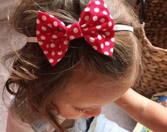 Valentines Polka Dot baby bow