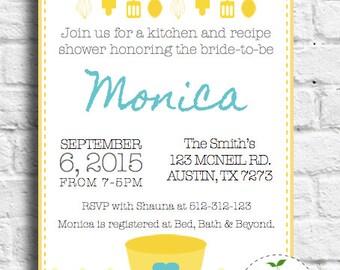 Kitchen Invitation-Kitchen and Recipe Bridal Shower-Cooking Class, Cooking Birthday Invitation-PDF JPEG digital, printable