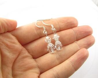 Clear Bead Earrings, Clear Bead Jewelry, Crystal Earrings, Crystal Jewelry, Clear Drop Earrings, Clear Drop Jewelry, Clear Bead Gift