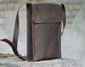 Messenger bag, leather messenger bag, leather bag men, shoulder bag, mens bag, B007 Brown