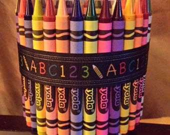 Teacher Appreciation Gift, Crayon Decorations, Pencil holder, Candy Jar, gift for teachers