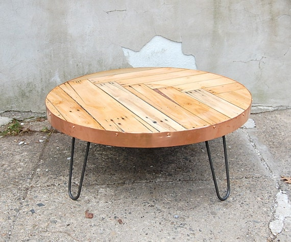 Pieced Round Coffee Table With Copper Edge And By BasemeantWrx