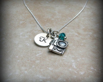 Camera necklace, Sterling silver camera charm necklace, Photographer necklace