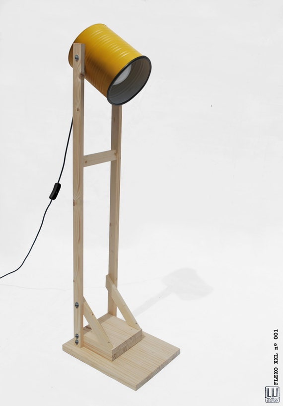 Floor lamp , mustard + light pine wood, hand-made / home-made ...ECO-friendly: recyled from big olives can !
