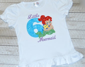 Disney Princess Little Mermaid Shirt with glitter birthday number and name available. Any princess available.Simple and sweet.Ariel Flounder