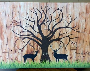 Custom Wedding Guest Book Fingerprint Tree Canvas