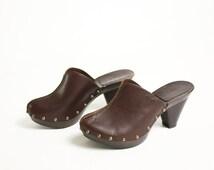 Vintage 90's Esprit Leather Dark Brown Studded Clogs  - EUR 37/ US 6.5/ UK 4