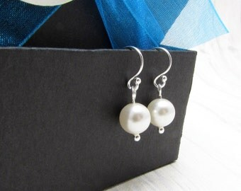 Pearl Drop Earrings, Pearl Earrings, Swarovski Pearl Earrings, Drop Earrings, Bridesmaids Earrings