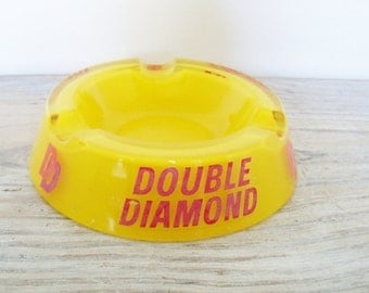 Vintage Ashtray - Double Diamond - Red Yellow Glass Ashtray - Double Diamond Ashtray - Pub Ashtray - British Ale Beer - 1960s