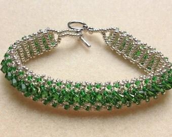Beaded Swarovski Crystal Bracelet-Dark Green-8 in.
