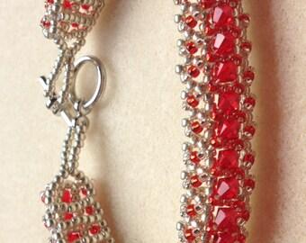 Beaded Swarovski Crystal Bracelet-Red/Silver-8 in.