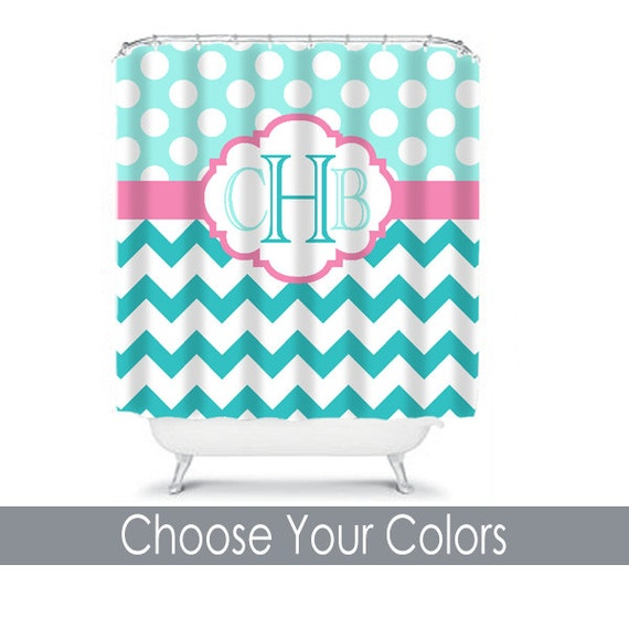 Turquoise Pink SHOWER CURTAIN Chevron Polka Dot By