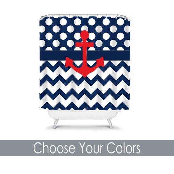 items similar to anchor shower curtain chevron polka dot navy blue red custom monogram bathroom. Black Bedroom Furniture Sets. Home Design Ideas