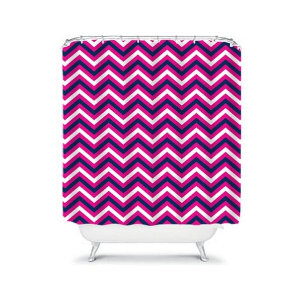 Chevron SHOWER CURTAIN Hot Pink Navy Custom By