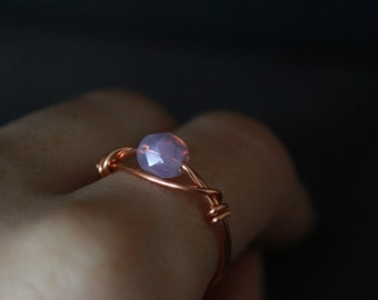 Dainty Jewellery; Lilac ring; Copper Ring ( czech glass jewelry, delicate ring, rose gold ring, purple ring, violet ring, stacking ring )