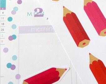 Colored Pencil Stickers for Erin Condren Planner, Filofax, Plum Paper