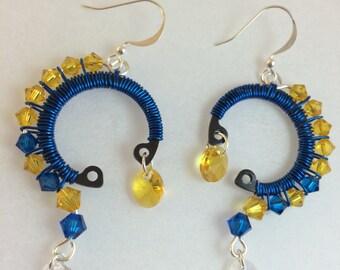 Blue Swarovski Wire Wrapped Earrings Handmade Jewelry Yellow Swarovski Earrings Topaz Earrings Swarovski Earrings Blue and Yellow