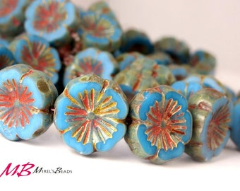 6 pcs Blue Picasso Flower, Czech Glass Beads, Maya Blue Flat Flower, 14mm