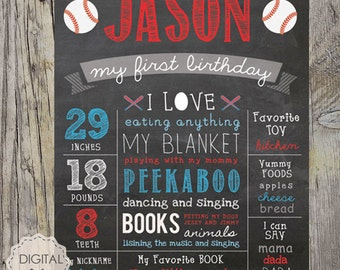 Personalized Baseball Chalkboard sign sport - First birthday baseball chalk board poster - DIGITAL FILE!