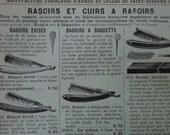 "1902 - Razors & Barbershop Print - Vintage French Print - Antique Barbershop Illustration - Old Print for Home or Office Decor  - 5x8"""