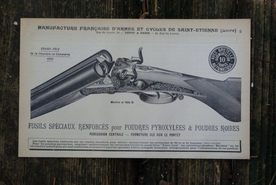 1902 Fusils Shotgun Print Vintage French Print Antique