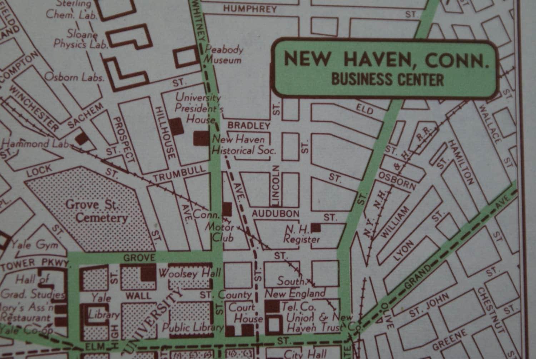 1951 new haven city map vintage map of new haven street. Black Bedroom Furniture Sets. Home Design Ideas