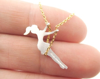Girl Swinging on a Swing Acrobat Charm Necklace in Gold and Silver | Handmade Simple and Dainty Jewelry