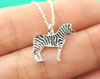 Simple Zebra Silhouette Shaped Pendant Necklace in Silver  | Minimalistic Handmade Animal Jewelry