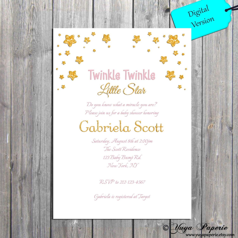 Twinkle Twinkle Little Star Baby Shower Invitation, Glitter Star ...