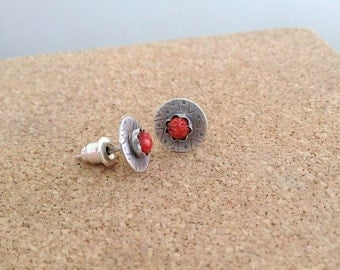 Coral Stud Earrings , Coral post earrings , Stone Stud , Indian earrings , Natural Coral earrings , Sterling silver