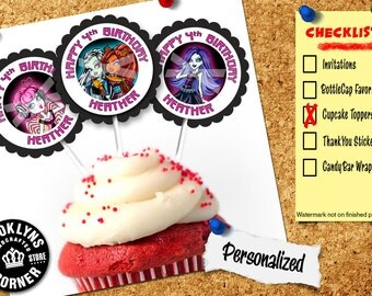 Monster High Party - (12) Personalized Cupcake Toppers