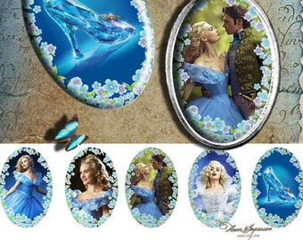 Cinderella movie -  25x38mm or 1x 1.5 inch, 4x6 paper Digital Collage Sheet Printable Download for pendants bezel cabs magnets  paper craft