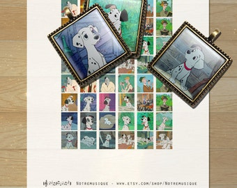 101 DALMATIANS Digital Collage Sheet, Square Images for Glass Resin Pendants; 1x1, scrabble tiles .75x.83 inch & 16x16 mm;Printables,Magnets