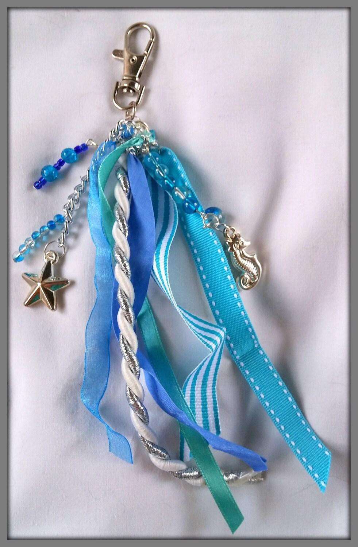 handbag charm purse accessories blue ribbon bag charm bag