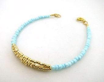 Simple Bracelet in Gold and Blue - Delicate beaded bracelet - Summer Bracelet - Minimalist Jewelry, Gift for Her