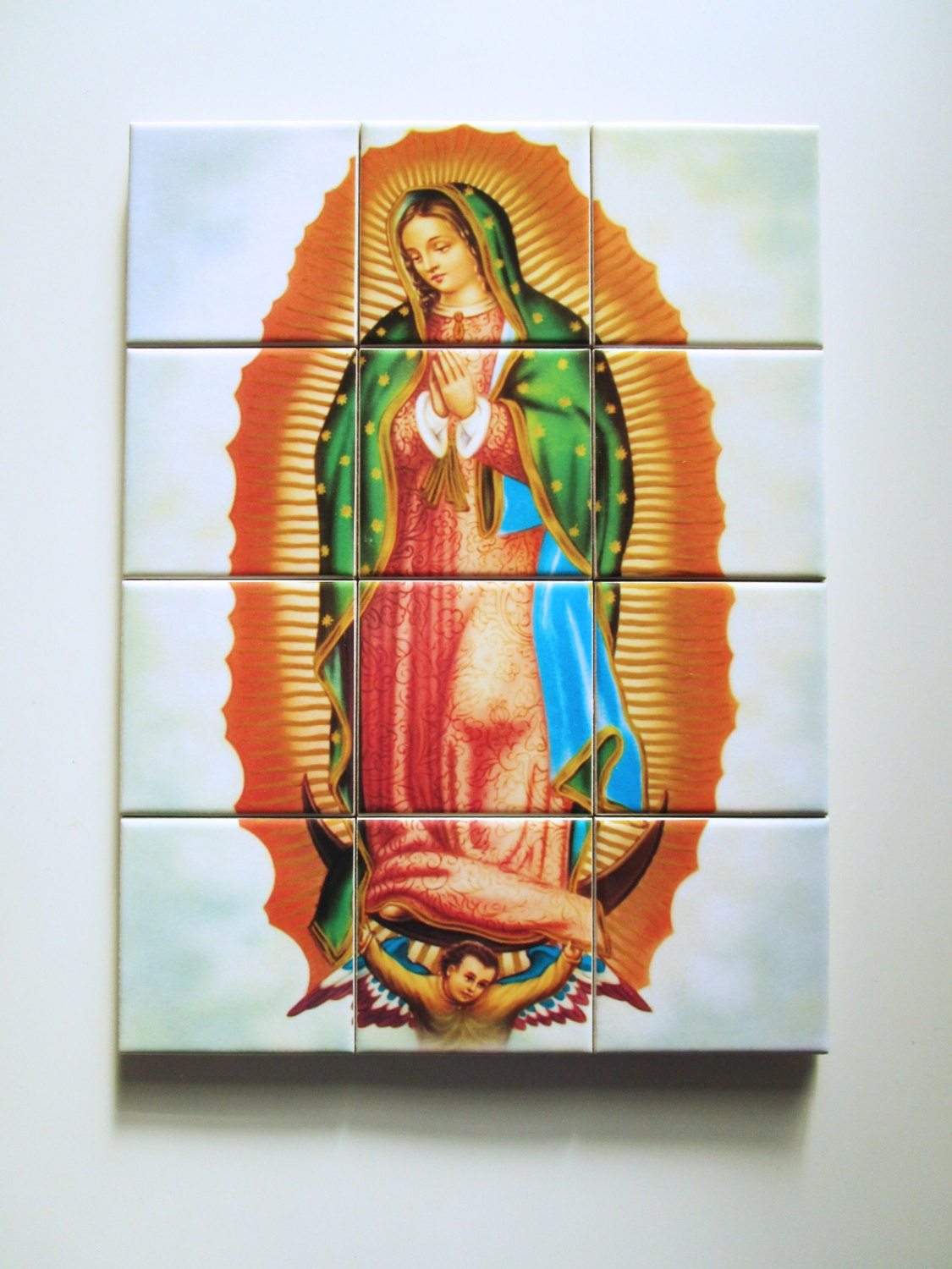 Religious tile mural our lady of guadalupe mosaic for Christian wall mural