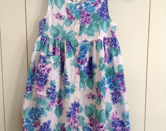 Vintage 1980s Lilac Floral and Lace Button Down Girls Sun Dress Size 10